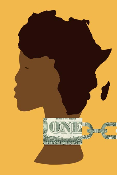 Black woman tied with a dollar in the shape of a chain
