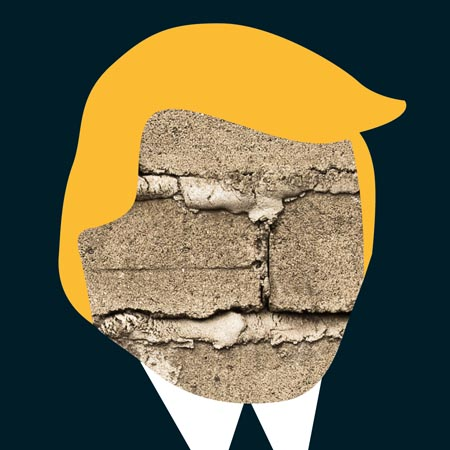 Trump portrait with concrete face