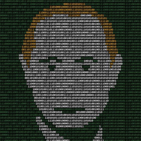 Portrait of Vladimir Putin made with 1 and 0