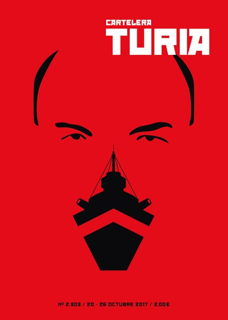 Lenin portrait. The knob is the battleship Potemkin