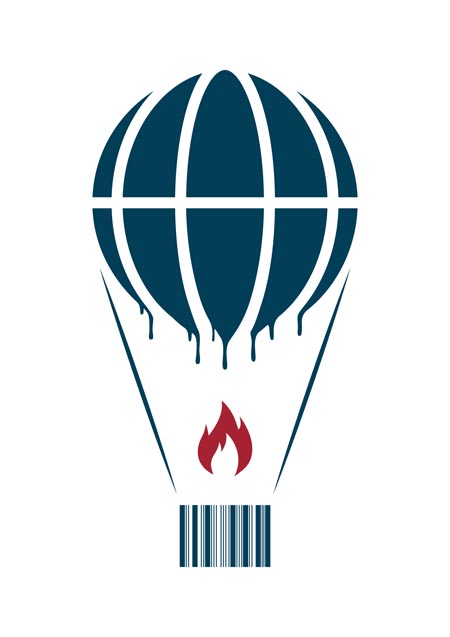 Earth globe as a hot air balloon melts while carrying a barcode