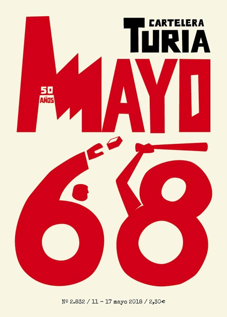 Typographic design with the letters May 68. May is a factory. 6 is a cop that hits 8, which represents a protester.