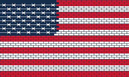 The USA flag made of bricks and barbed wire.