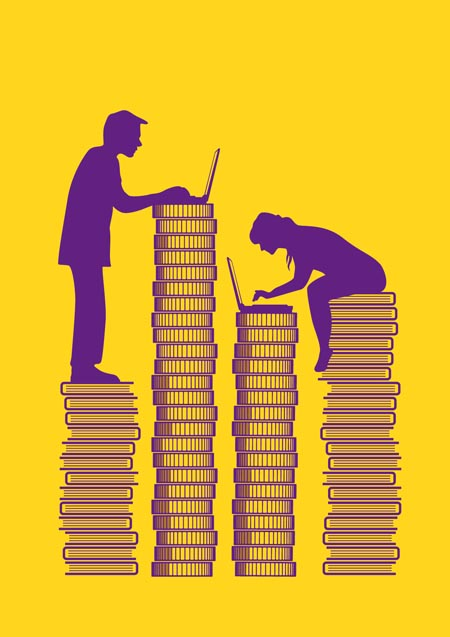 Man and woman working on a stack of coins and books. The man earns more money while she accumulates more knowledge