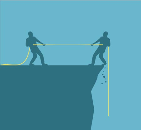 Two men stretch on both ends of a rope. If the one on the right wins, he will fall off the cliff.